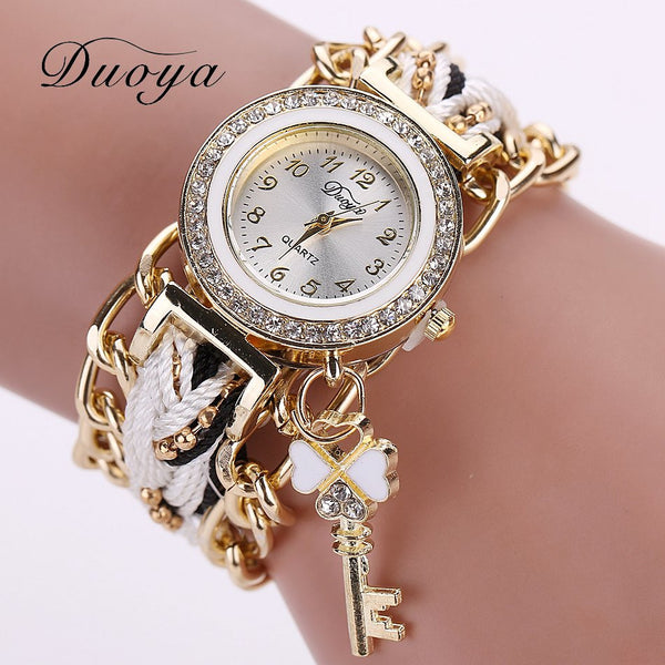 Analog Quartz Luxury Gold Crystal Watch