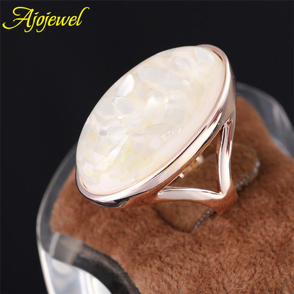 Rose Gold Plated Elegant White Natural Shell Ring