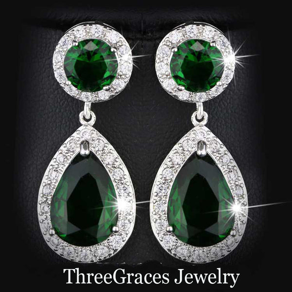 Silver Plated Emerald Green round cubic zirconia long earring