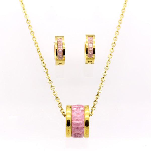 Stainless Steel Gold Plated Necklace Set