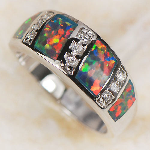 Fine Red Fire Opal 925 Sterling Silver  Ring