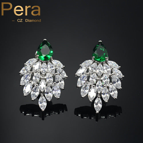 Handmade Vintage Plant Design Faux Diamond earrings