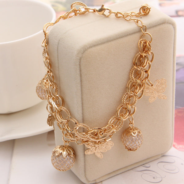 Butterfly Faux Pearl Charm Bangle Bracelet