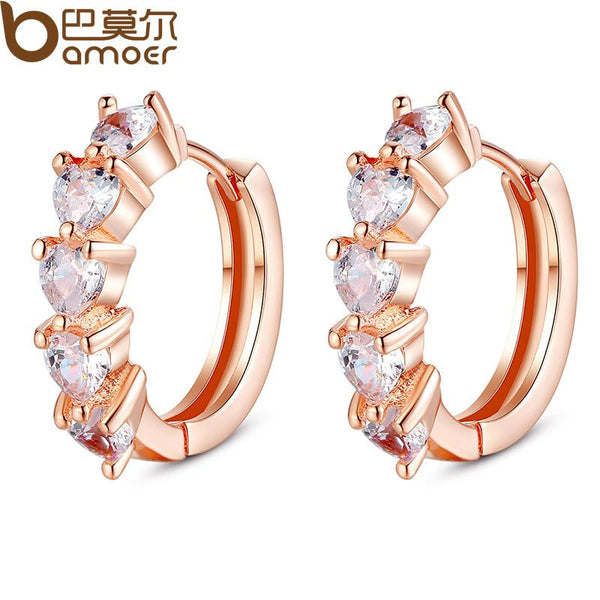 Heart Shape Rhinestone Hoop Earrings