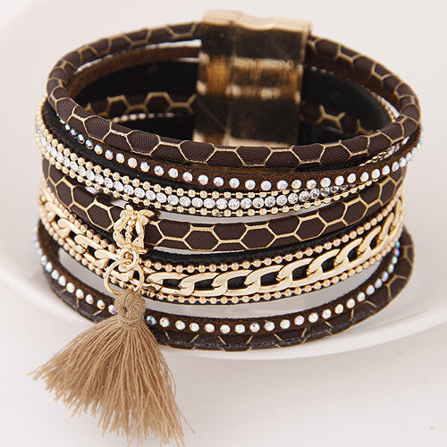 Fashion Multilayer Leather Bracelets with Magnetic Tassel