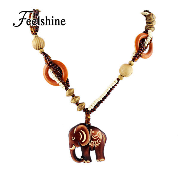 Trendy Handmade Wooden Elephant Necklace