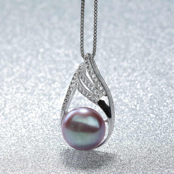 Sterling Silver Natural Freshwater Pearl Pendant Necklace