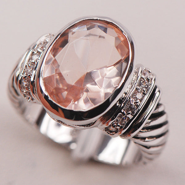 Morganite Fashion 925 Sterling Silver Ring