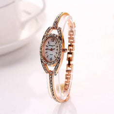 Casual Gold Stainless Steel Watch - Diamonds And Hoops Fashion Jewelry