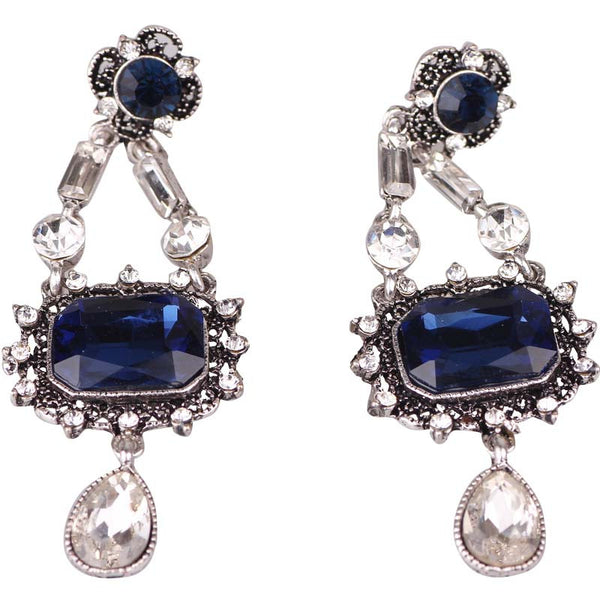 White Gold Blue & White Glass Fashion earrings