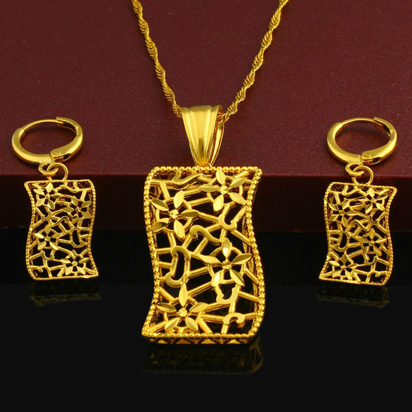 Party Necklace/Earring Set 24K Gold Plated