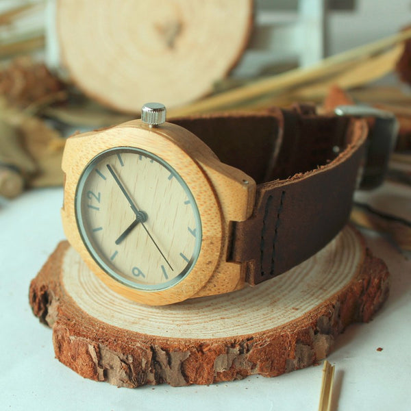 Sporty Leather Bamboo Quartz Watch
