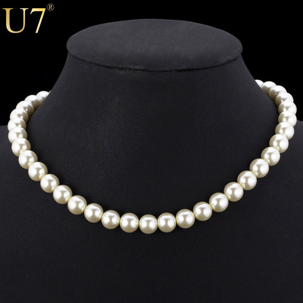 White Pearl Beaded Simulated Necklace
