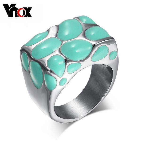 Fashion Large Enamel Stainless Steel Ring.