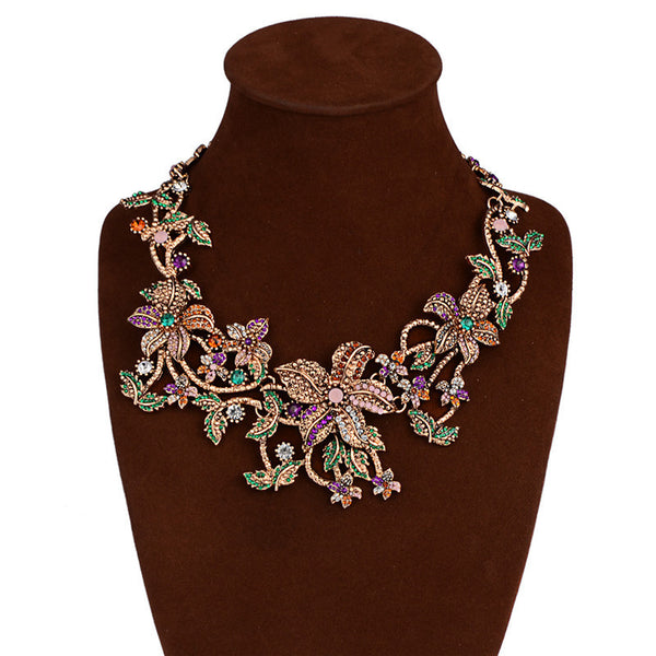 Colorful Floral Rhinestone Choker Necklace