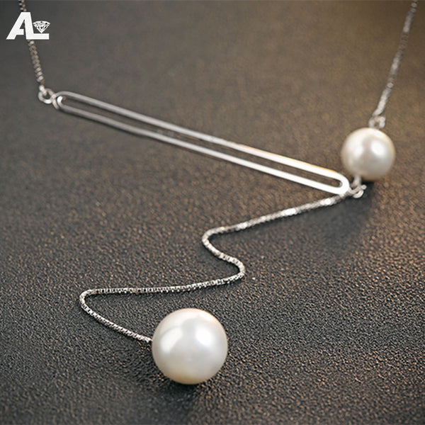 Trendy Silver round Faux Pearl Necklace