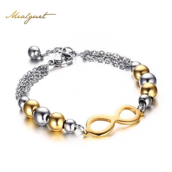 Nifty 8 Shaped Gold Color Infinity Bracelet Bangle