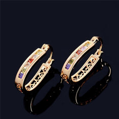 2 Color Shiny Gold Plated Hoop Earrings