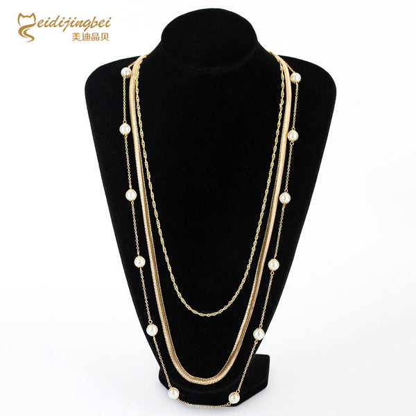 Fashion Pearl Gold Alloy Necklace