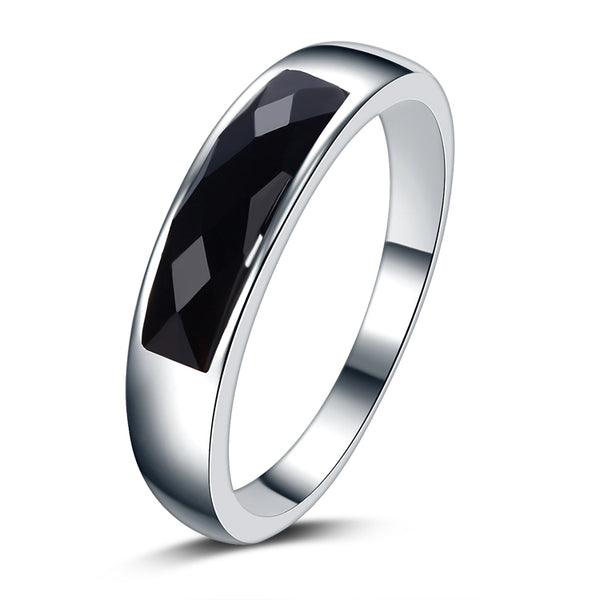 Fashion Black Crystal 925 Sterling Silver Ring