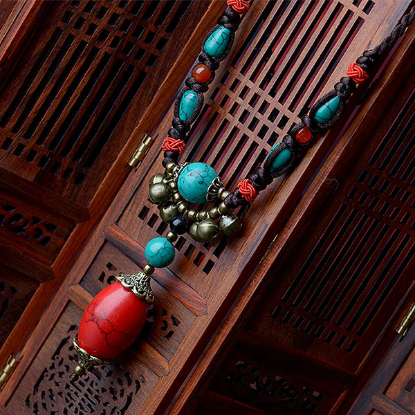Tibetan Red Turkey Stone  Chain Necklace
