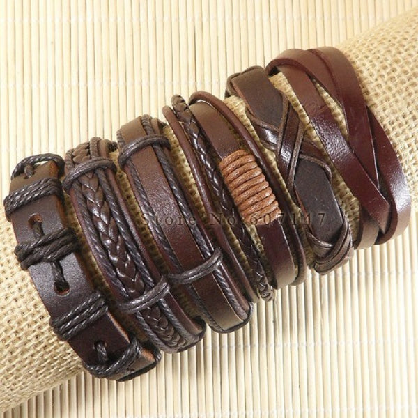 Adjustable 6pcs Handmade Wrap Brown Charm Bracelet