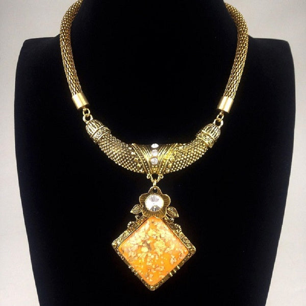 Fine Crystal Big Gem Collar Statement Necklace