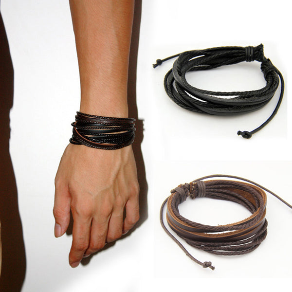 Lace up 2pcs Black and Brown Braided Bracelet
