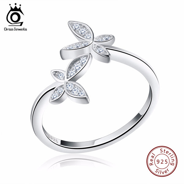 Fashion Sterling Silver 925 Adjustable Flower Design Ring