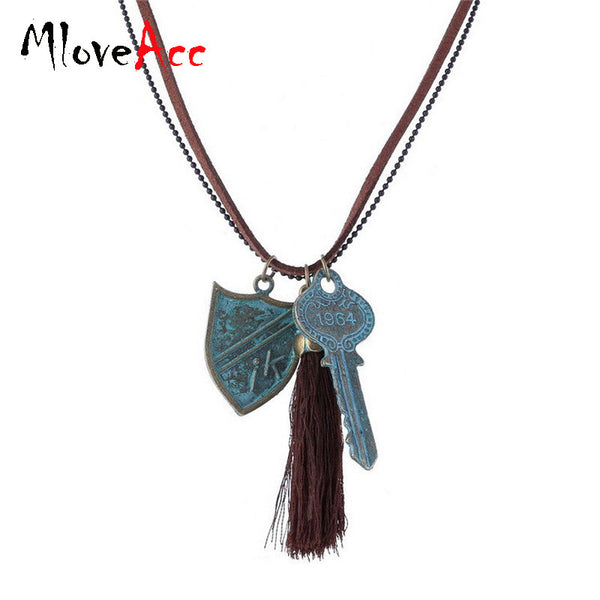 Unique Vintage Tassel Key Tag Necklace