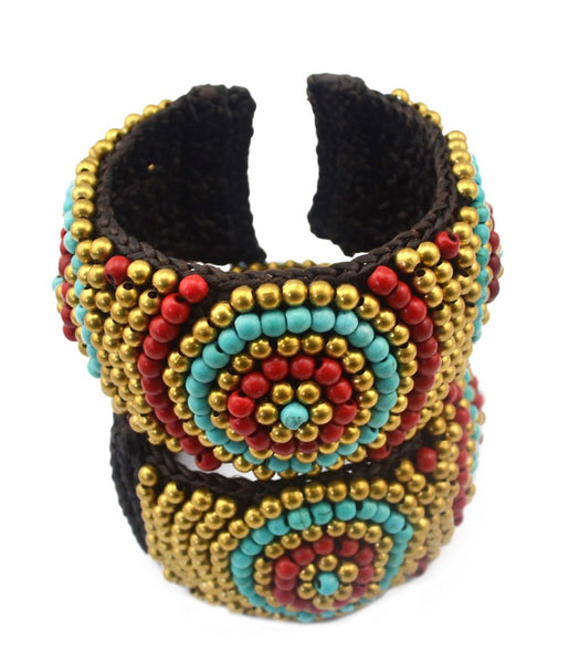 Attractive  Bohemian Colorful Wide Cuff Bracelet