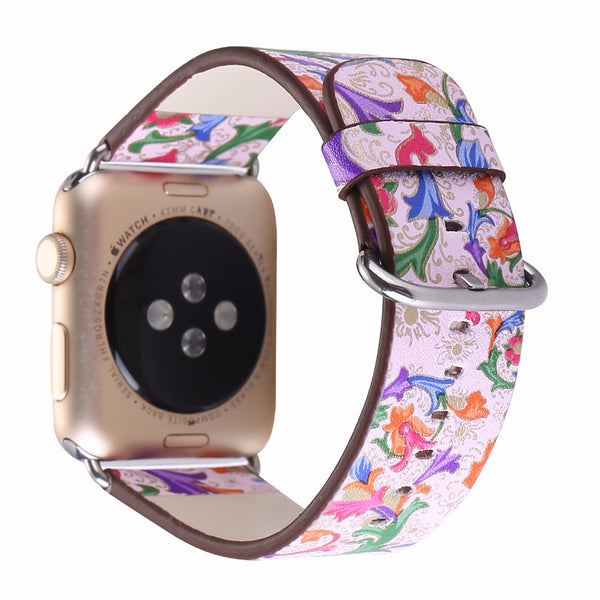Flower Printed Watch Band For Apple Watch Series 1 & 2