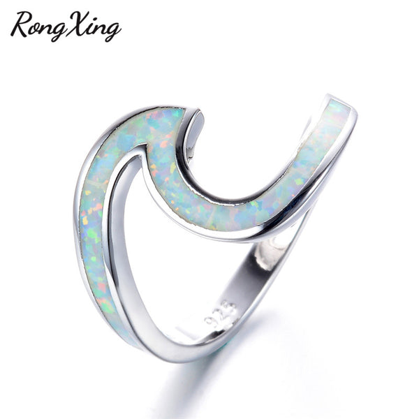 925 Sterling Silver Filled Opal White Wave Ring