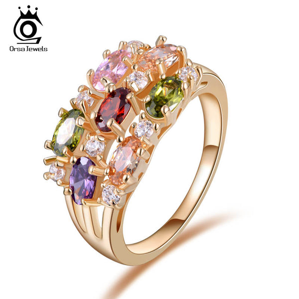 Luxury Rose Gold Color Zircon Ring