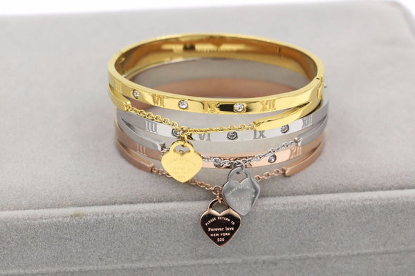 Luxury Stainless Steel Bangle Bracelet with Gold Titanium tag
