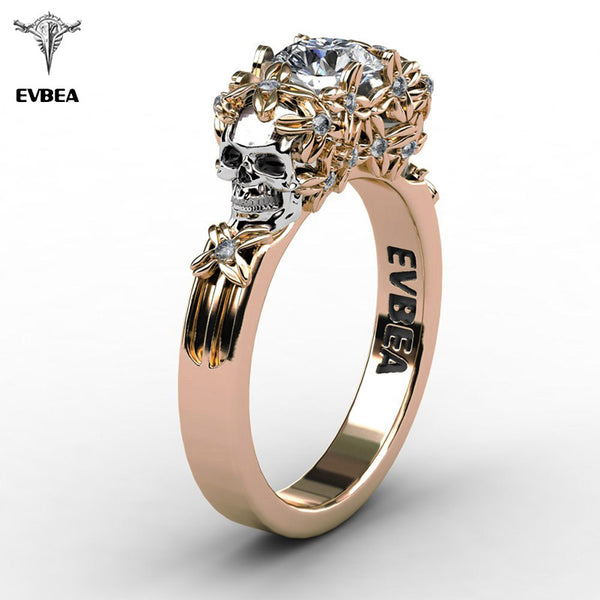 Beautiful Elegant Gold Skull Zircon Ring
