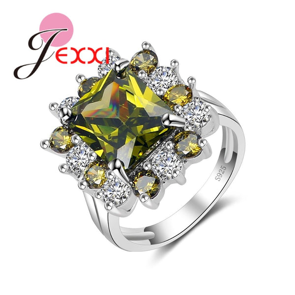 Fine Dark Yellow Square  925 Sterling Silver Ring
