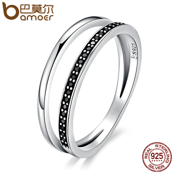 925 Sterling Silver Double Circle Black Stackable Finger Ring