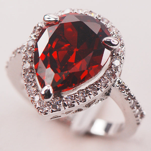 Garnet  925 Sterling Silver  Fashion Ring