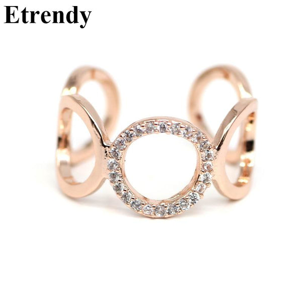 Adjustable Rhinestone Circle Ring