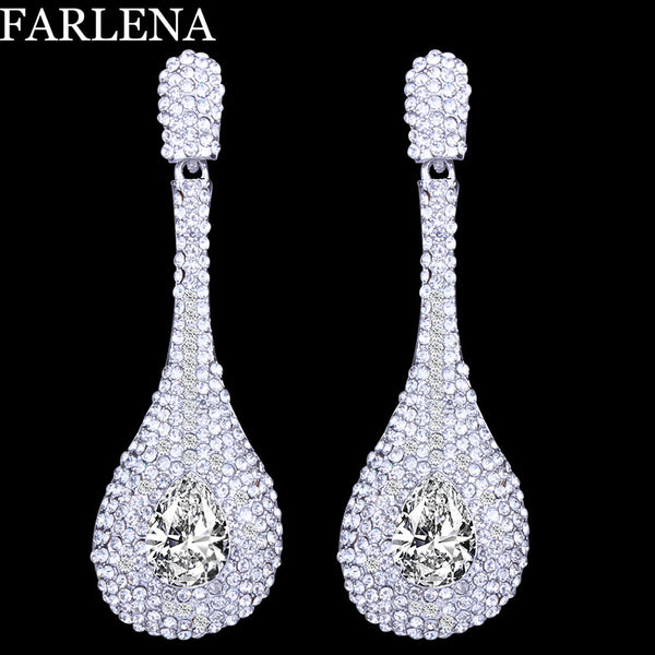Fashion Silver Plated Water Drop Crystal Earrings