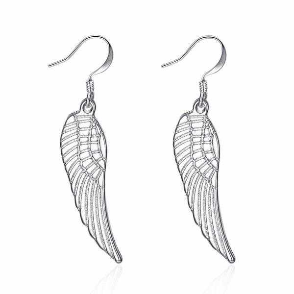 Fashion 925 stamped silver plated Feather Angle Wing Earrings