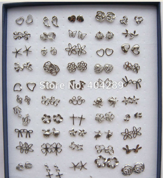 50 pairs Mixed Style Silver Plated Crystal Flower/Starfish/Butterfly/Strawberry/Heart Stud Earrings