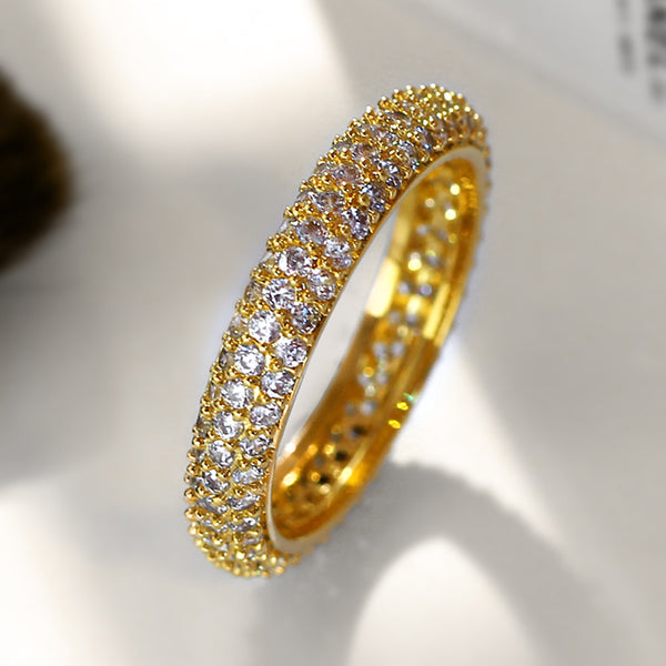 Customized Zirconia Wedding Ring with Invisible Setting