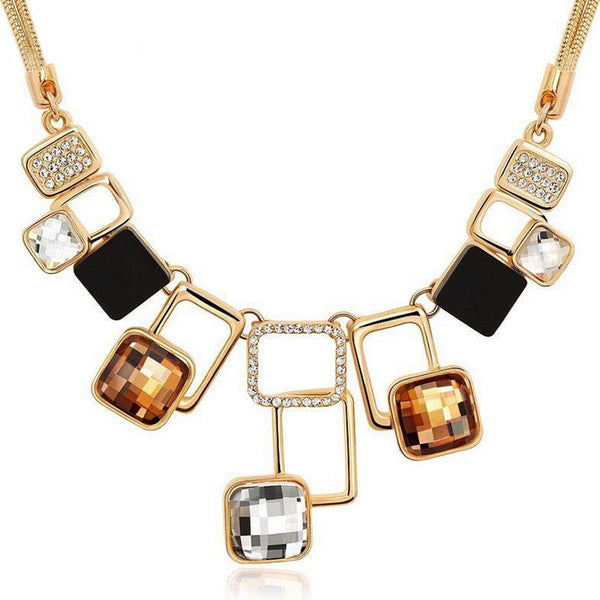Crystal Gold Plated  Multi-color Necklace
