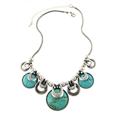 Custom Vintage Silver Plated Stone Necklace