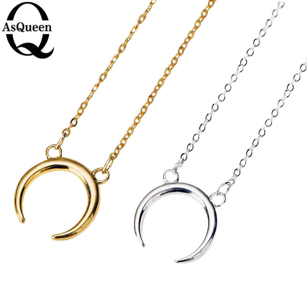 Gold Silver Simple Crescent Half Moon Necklace