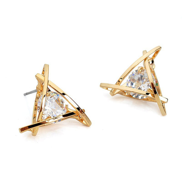 Flashy crystal  Gold Triangle Stud Earrings