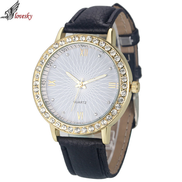 Rich Glass Faced Leather Quartz Watch
