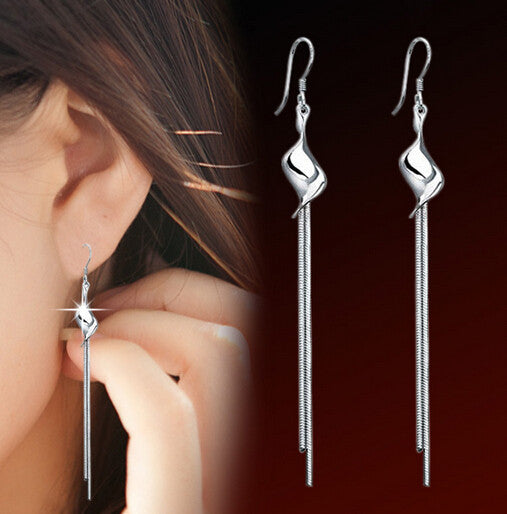 Silver Plated Long Tassel Drop Earrings